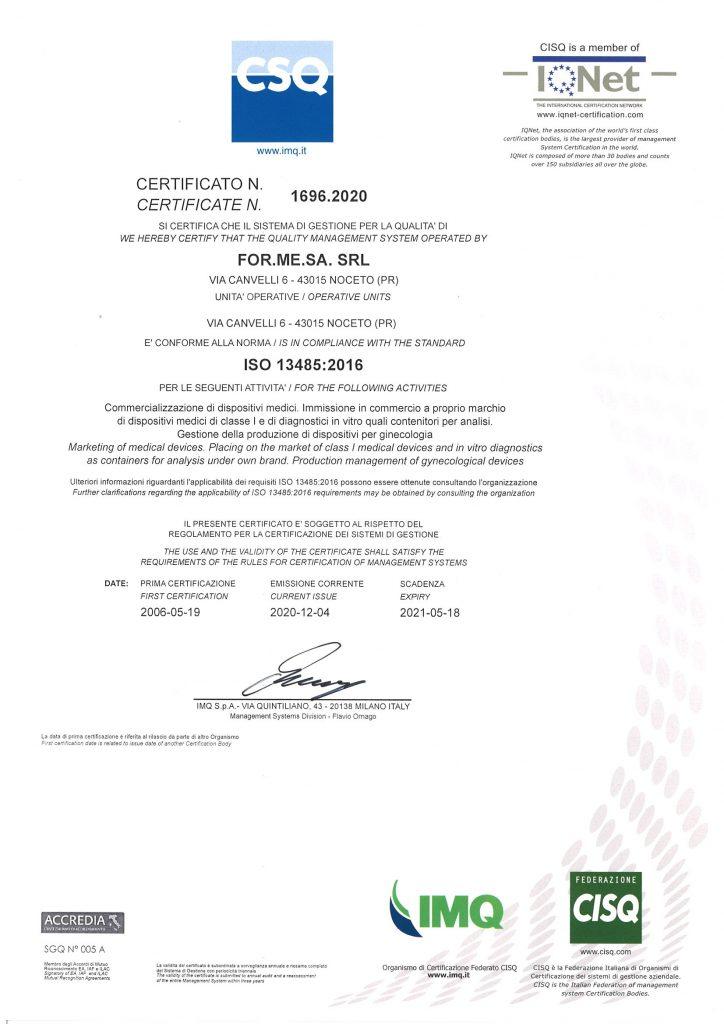 ISO 13485:2016 FORMESA