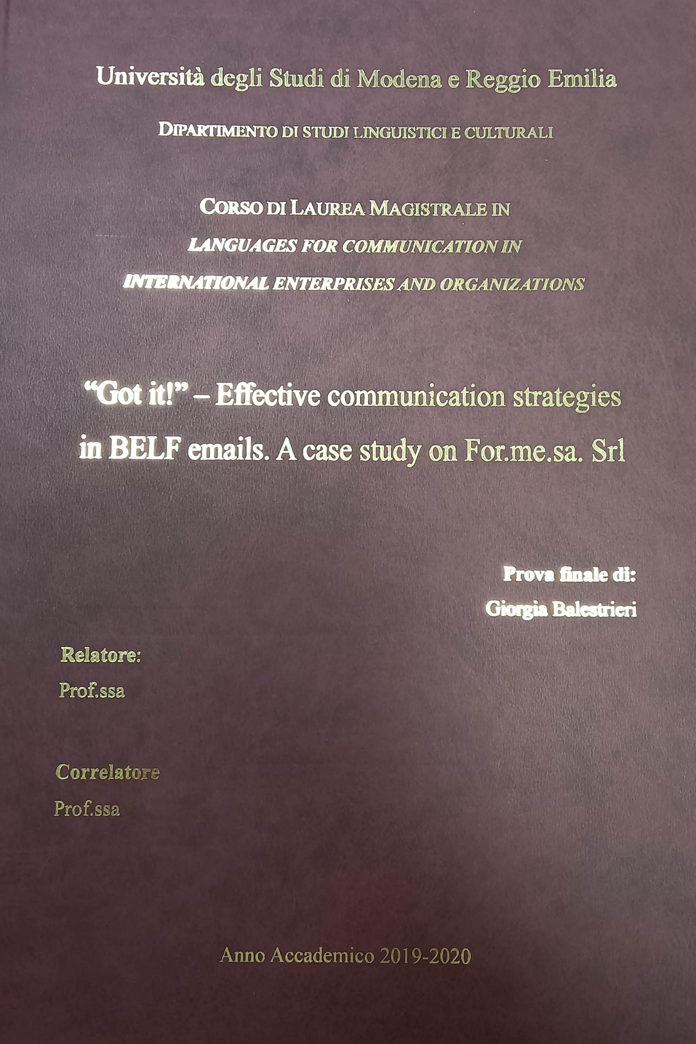 La tesi sulla comunicazione aziendale sviluppata durante lo stage in for.me.sa.